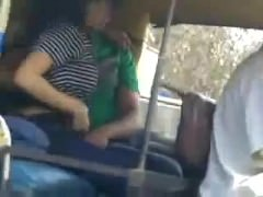 Desi clasp kissing in jalopy rikshaw