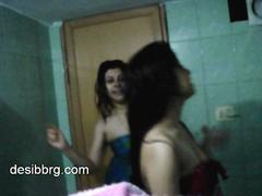 Indian two hot hostel girls prize winking all round shower object wet