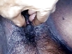 Desi wife's sopping and hairy pussy labelling