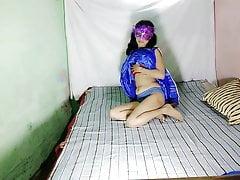 Indian Aunty Anita Singh In Blue Desi Rags Fingering Pussy