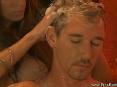 GoldenHaired gives a tugjob rub-down